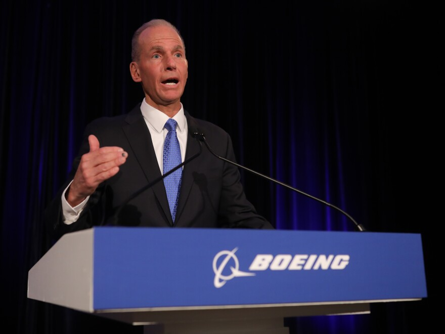 Boeing Chief Executive Officer Dennis Muilenburg speaks at the Boeing Annual Shareholders Meeting on Friday in Chicago.