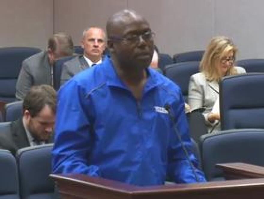 "Herman Lindsey, formerly on death row, was exonerated in 2009. He spoke Monday to members of the House Judiciary Committee about the ""Clean Hands"" provision in the Victims of Wrongful Incarceration Compensation Act."