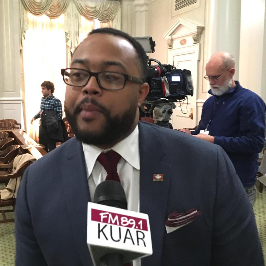 House Minority Leader Rep. Charles Blake speaking with reporters Tuesday about the priorities for Democrats.