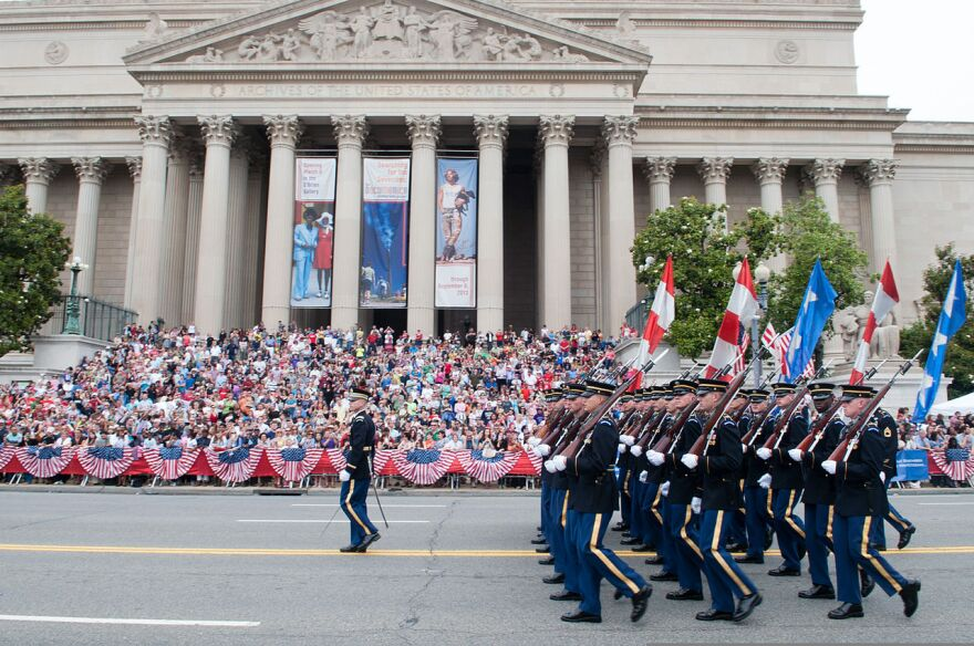 Soldiers march in the national Memorial Day parade in Washington DC.