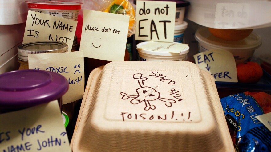 """Snarky notes may not do much to ward off office fridge thieves. """"I came across one guy who will intentionally steal people's food when they leave snarky notes,"""" says Dan Pashman, host of the Sporkful."""