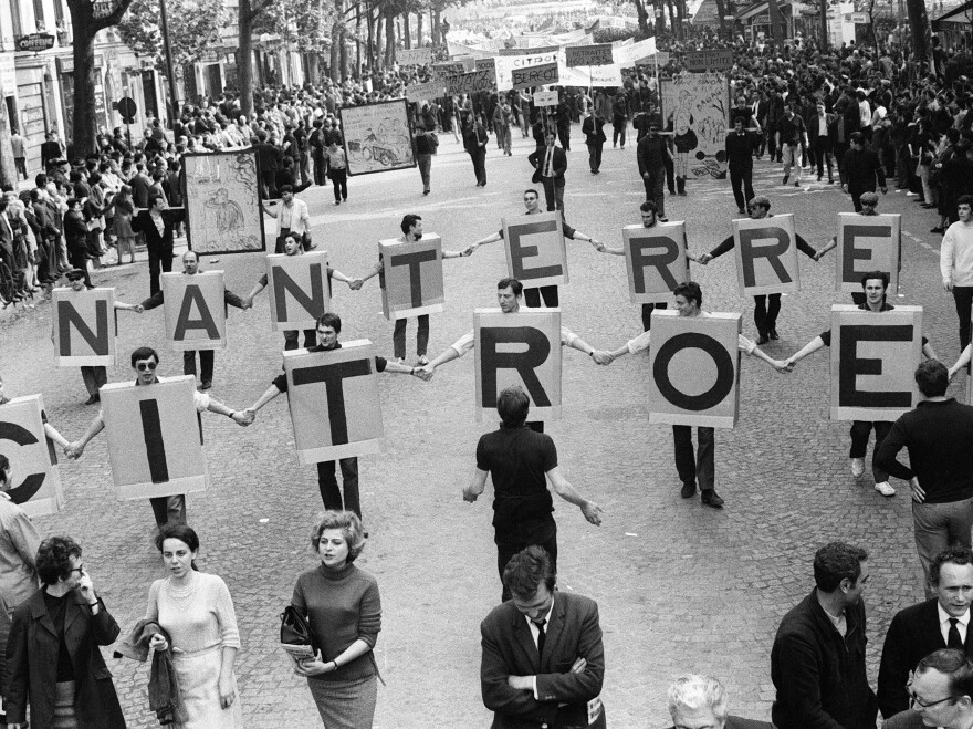 Workers from the Nanterre Citroen car factory take part in the demonstration organized by the CGT French workers union on May 29, 1968.