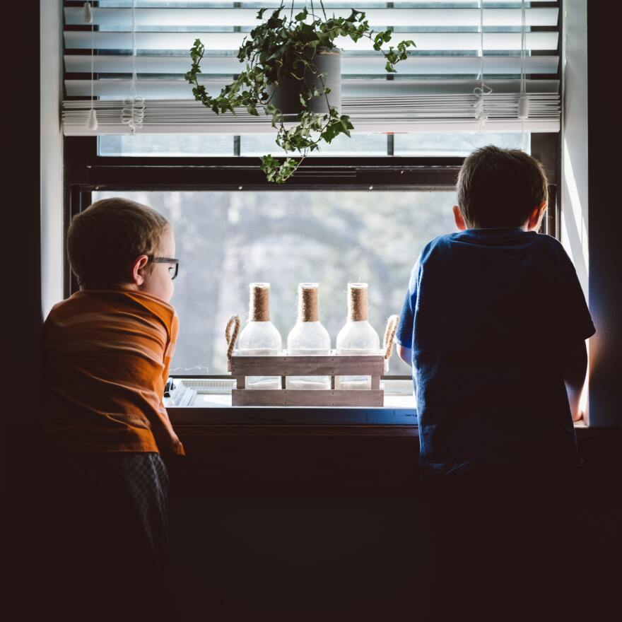 two boys lean on a window sill. Hanging above them are potted plants. In between the two boys are three glass bottles.