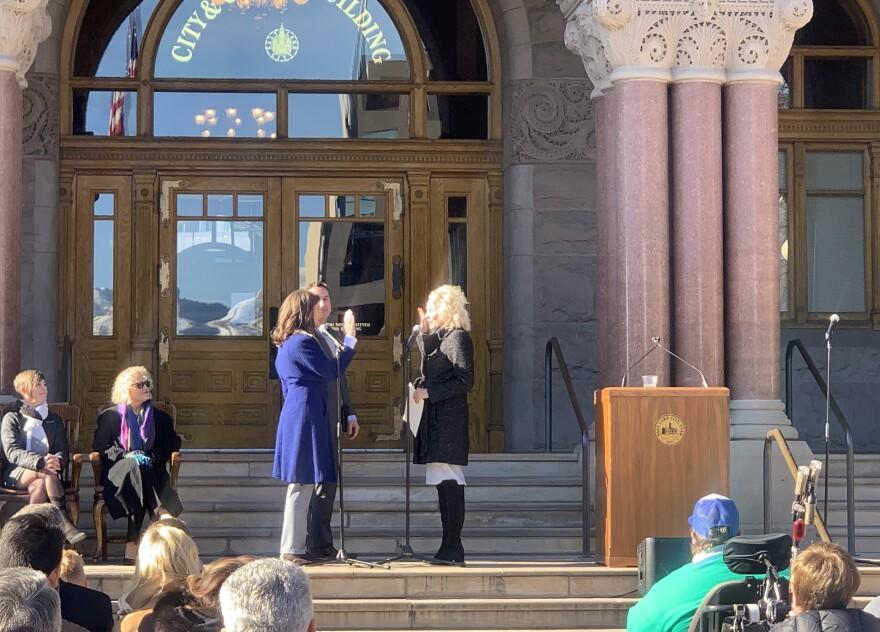 Photo of Erin Mendenhall getting sworn in as Salt Lake City mayor.