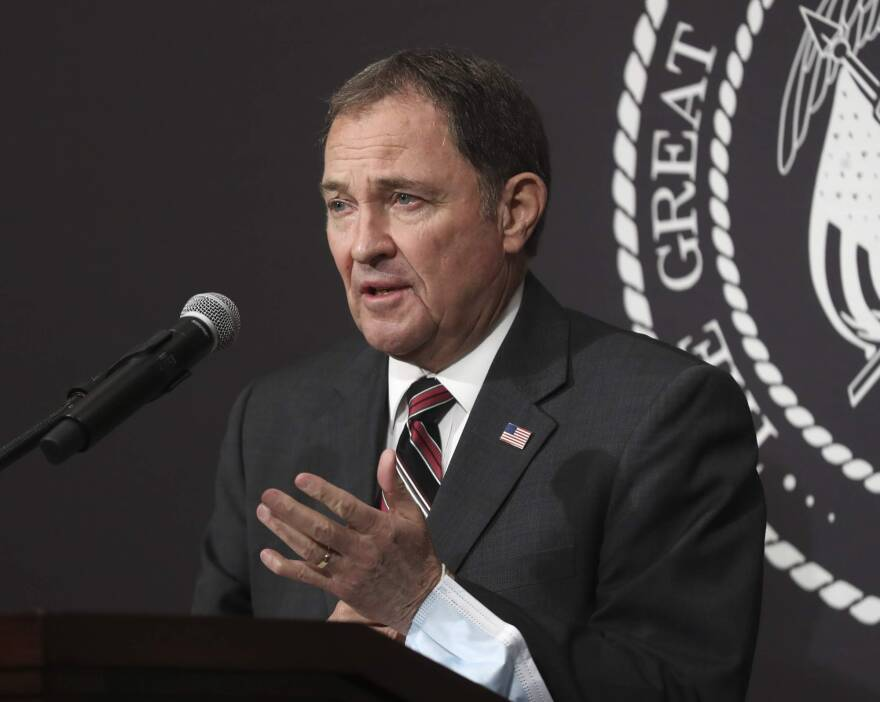 Photo of Gary Herbert speaking into a microphone