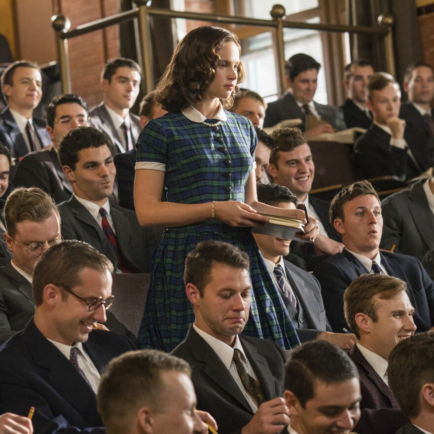 Notorious: A young Ruth Bader Ginsburg (Felicity Jones) stands and delivers at Harvard Law School in <em>On the Basis of Sex.</em>