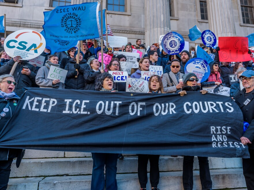 The Association of Legal Aid Attorneys along with dozens of unions, immigrant rights organizations, and community groups held a rally on December 7, 2017 at Brooklyn Borough Hall to call on the Office of Court Administration and Chief Judge Janet DiFiore to prohibit Immigration & Customs Enforcement agents from entering state courthouses, and to end coordination with ICE.
