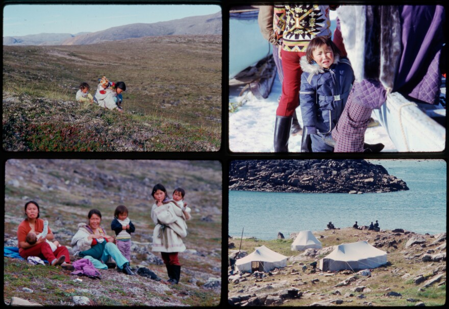 Myna Ishulutak (upper right, in blue jacket) lived a seminomadic life as a child. Above: photos of the girl and her family in the hunting camp of Qipisa during the summer of 1974.