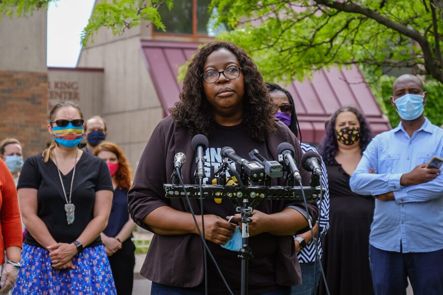 Richardson speaks on Tuesday at the Minnesota Legislature's People of Color and Indigenous Caucus news conference about the legislative responses to the murder of George Floyd. The caucus intends to make police and criminal justice reform a top priority.