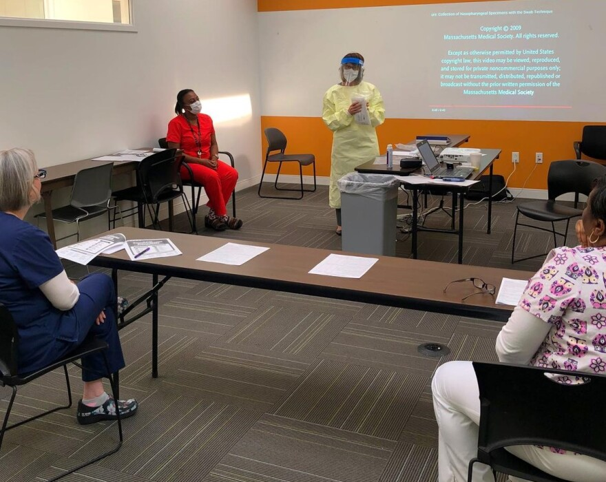 Affinia Healthcare's front-line staff receive training on ways to properly protect themselves and individuals during testing. March 31, 2020