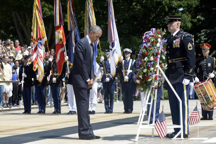 President Obama lays a wreath at the Tomb of the Unknowns in Arlington, Va.