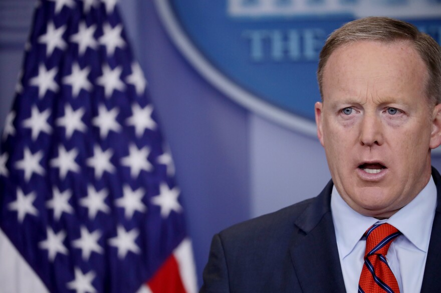 White House press secretary Sean Spicer answers reporters' questions during the daily news conference at the White House on Tuesday.