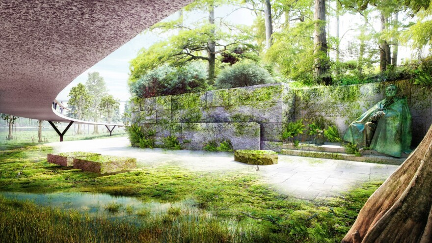 In one of the possible future design scenarios presented by James Cormer Field Operations, nature would take its course, and a walkway would be built around the Tidal Basin for visitors to observe.