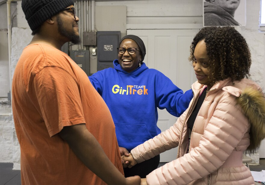 Director Kathryn Bentley works with Larry Shelton and Camese Johnson during rehearsal. Jan. 19, 2020hryn Bentley works with Larry Sheldon and Camese Johnson on a scene.