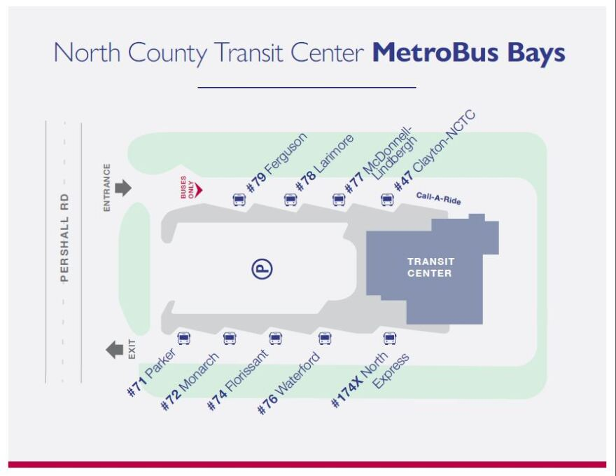 Diagram of the North County Transit Center bus bays.