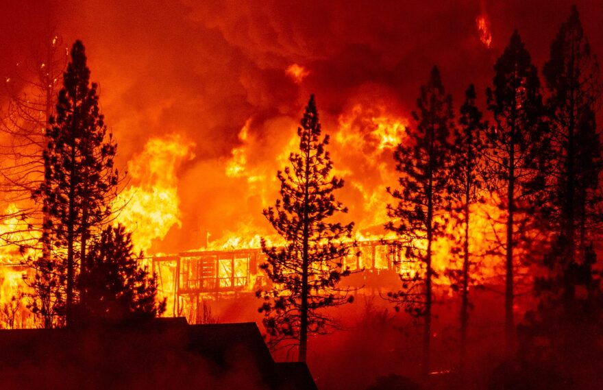 """A home is engulfed in flames during the """"Creek Fire"""" in the Tollhouse area of unincorporated Fresno County, California."""