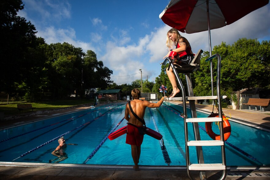 Lifeguards Quinlin Taylor, left, and Katie Mallet