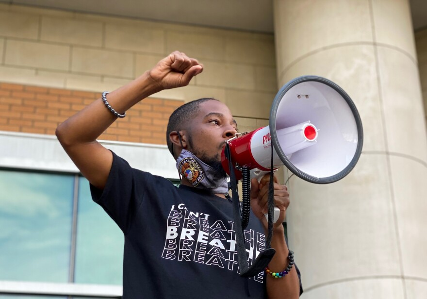 """How many more bodies do we got to see?"" Missouri Rep. Rasheen Aldridge said to demonstrators outside of the St. Louis County Justice Center in Clayton on Saturday.  05/30/20"