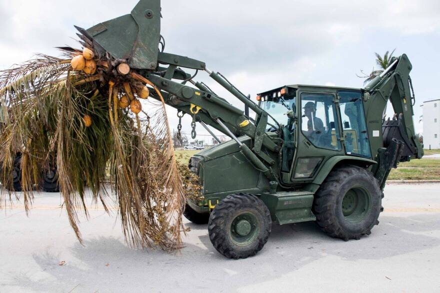 A sailor uses a tractor to help remove fallen trees caused by Hurricane Irma on Naval Air Station Key West.