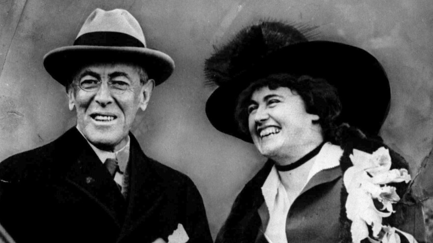 President Woodrow Wilson and his wife, first lady Edith Bolling Wilson, in an undated photo.