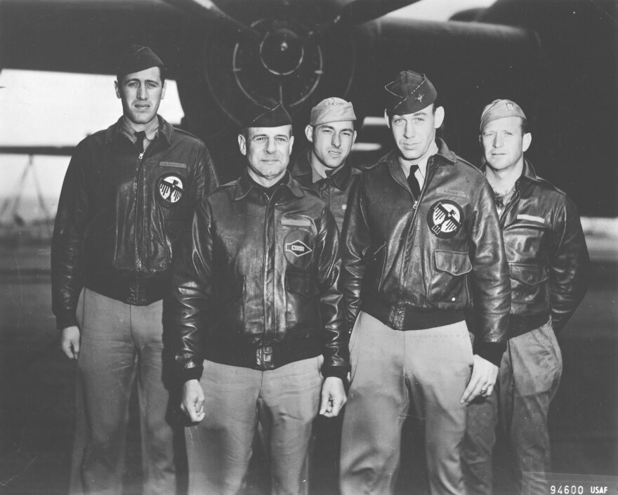 L to R: Lt. Henry A. Potter; pilot Lt. Col. James H. Doolittle; Staff Sgt. Fred A. Braemer; Cole; and Staff Sgt. Paul J. Leonard. Co-pilot Lt. Richard E. Cole, second from right, was the last of the 80 airmen from the daring raid after Pearl Harbor.