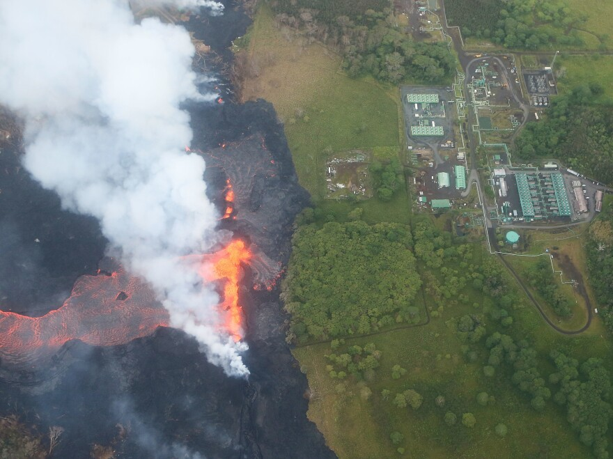 Lava from the Kilauea volcano approaches the Puna Geothermal Venture plant on Hawaii's Big Island on Monday.