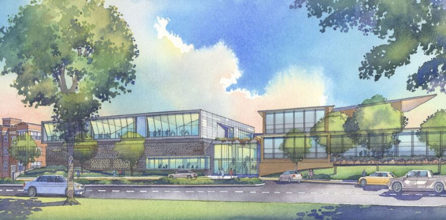 This artist's rendering shows how the expansion will change the exterior of COCA arts center.