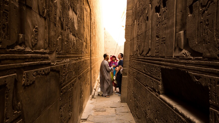 Tourists visit the ancient Temple of Edfu in Aswan, Egypt, last September. Tourism in Egypt has been depressed for five years, and the loss of an EgyptAir plane on Thursday is expected to be another blow to the industry.