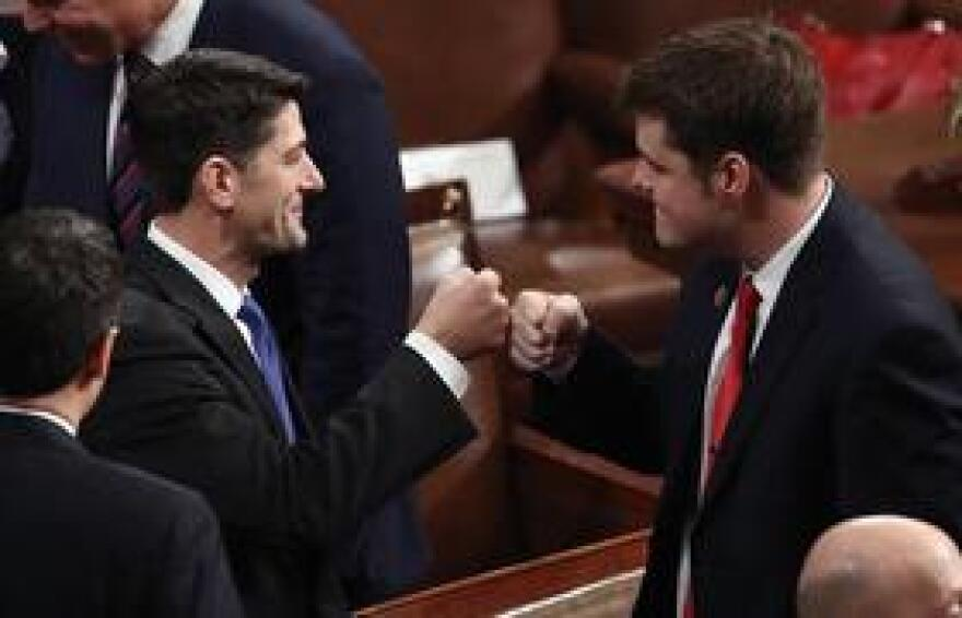 Congressman Matt Gaetz fistbumps with Speaker of the House Paul Ryan.