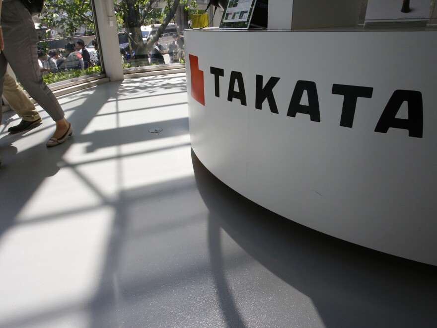A Takata Corp. desk at an automaker's showroom in Tokyo.