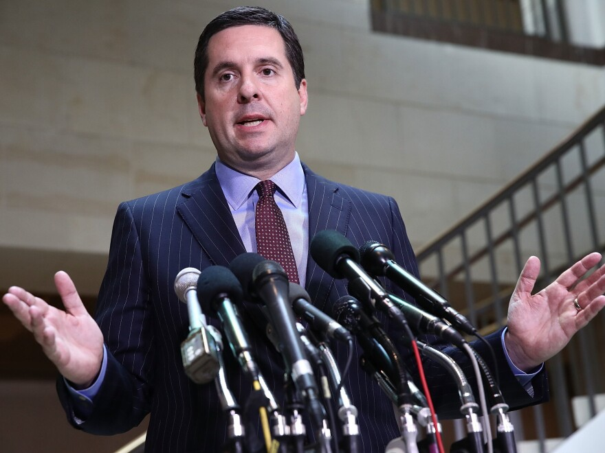 House intelligence committee Chairman Devin Nunes, R-Calif., speaks to reporters at the Capitol last year. Nunes is at the center of a political firestorm over the release of a memo critiquing FBI surveillance.