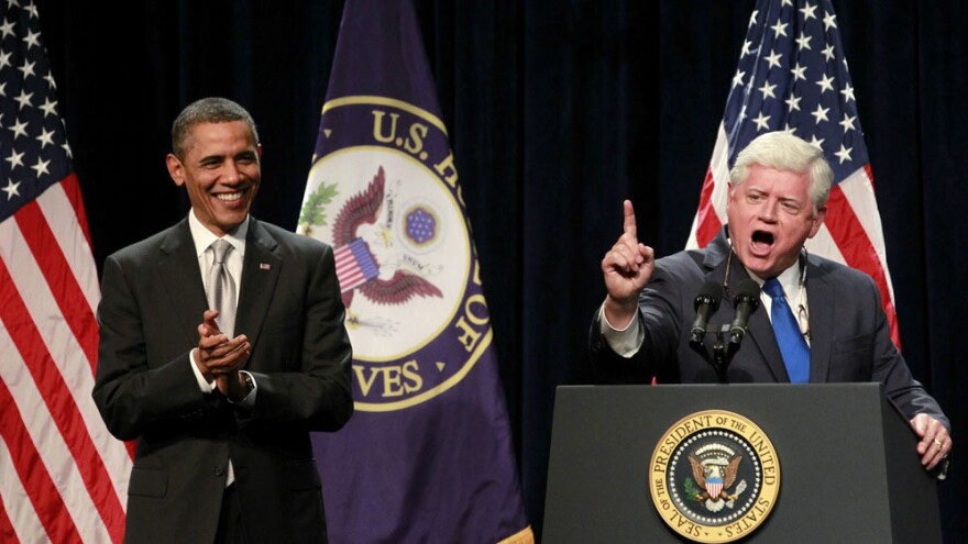 Rep. John Larson, a Connecticut Democrat., introduces President Obama at the House Democratic Issues Conference on Friday in Cambridge, Md.