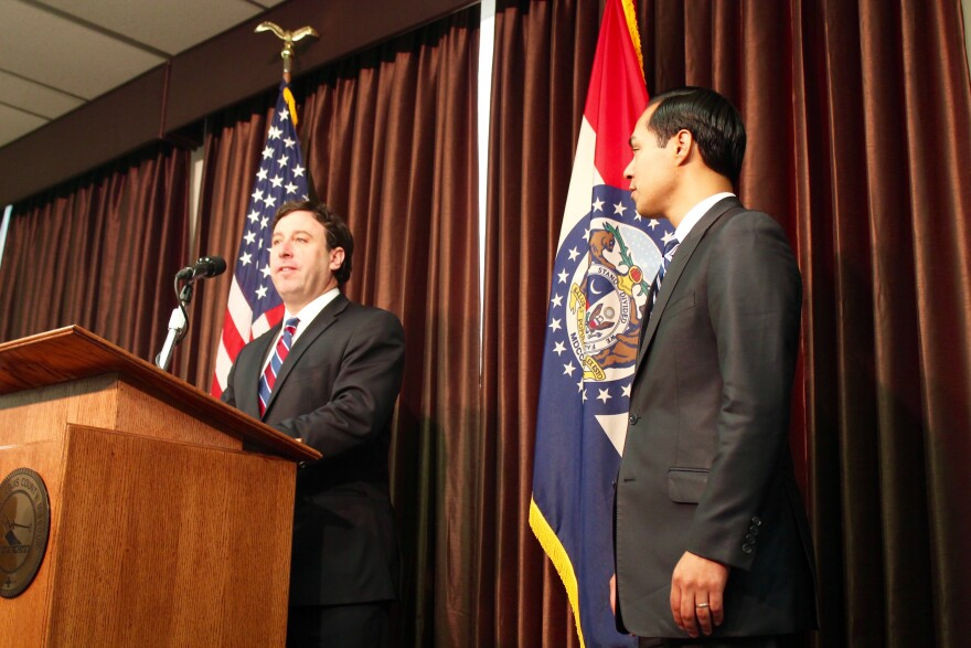 St. Louis County Executive Steve Stenger joined HUD Secretary Julian Castro at the press conference announcing the HUD funds.