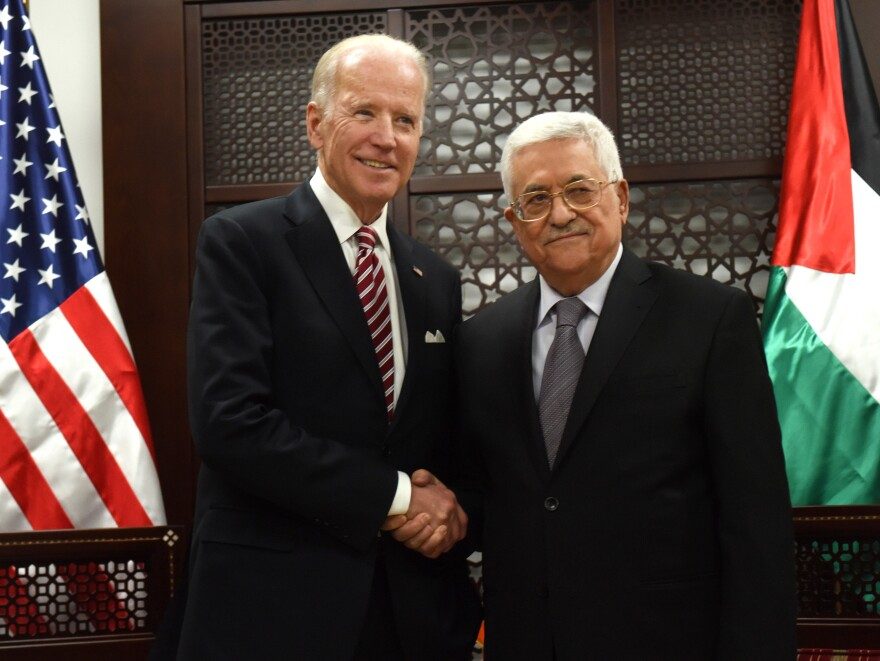 Then-Vice President Biden, left, and Palestinian President Mahmoud Abbas, in Ramallah, Israeli-occupied West Bank, in 2016.