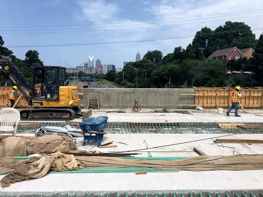 Workers installed bridge sides on the Hawthorne Avenue bridge this summer.