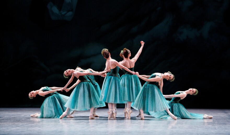 """Dancers from the Paris Opera Ballet perform """"Emeralds,"""" the first movement of George Balanchine's <em>Jewels, </em>which marks its 50th anniversary this year. <em>(Jewels, choreography by George Balanchine, © The George Balanchine Trust)</em><em></em>"""