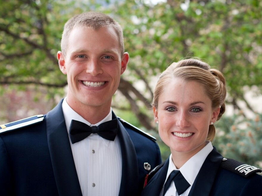 "Alana and Mark Benischek. The military couple decided to stay home for Thanksgiving instead of traveling cross-country to celebrate with family. ""When you are part of a team, like the U.S. military...you are concerned about something bigger than yourself,"" Alana said."