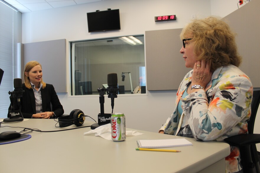 Galloway and St. Louis Public Radio reporter Jo Mannies talk before recording starts on the Politically Speaking podcast. Mannies and Galloway both have Webster Groves roots.