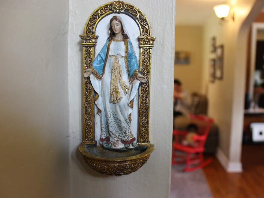 The Leers have a holy water holder in the threshold of their home in Wilkins Township, just outside of Pittsburgh.