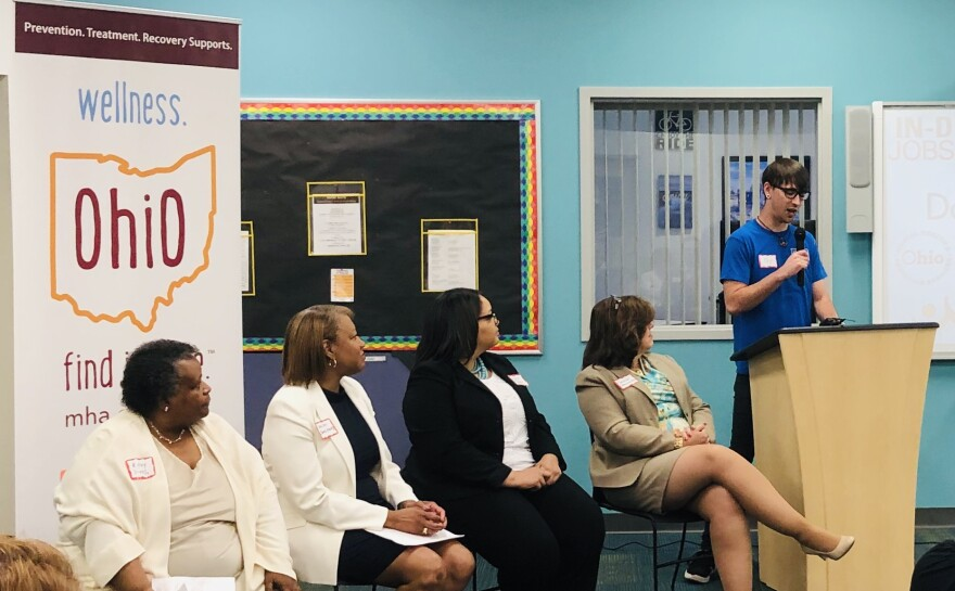 "Daybreak staff member, Jay Paxson tells his story of homelessness, addiction, and recovery at ""In-Demand Jobs Week"" presentation. Also pictured, right to left: Sandra Brasington, Alisia Clark, Helen Jones-Kelley, and Kathy Hooks."