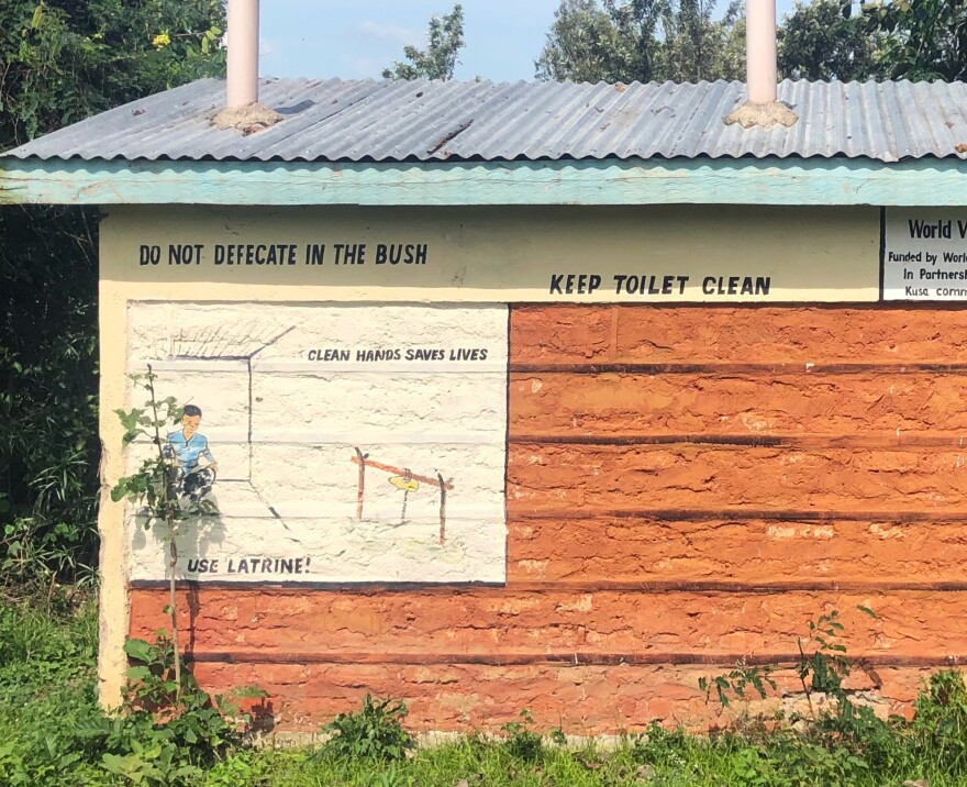 A reminder in a Kenyan village that the bush is not a bathroom.