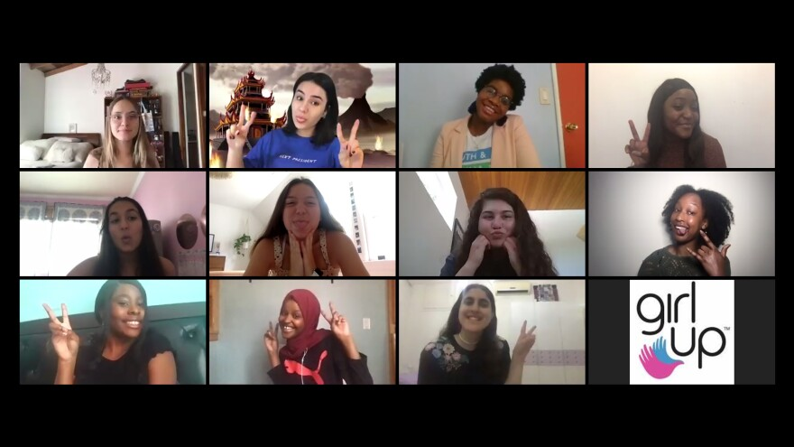 Teenage leaders in the global group Girl Up met for their annual conference via Zoom. NPR interviewed 11 of the attendees. Top row, from left: Salomé Beyer, Rebecca Fairweather, Alliyah Logan and Bethel Kyeza. Middle row, from left: Riya Goel, Nora DiMartino, Aya Alagha and Mofi Onanuga. Bottom row, from left: Vanessa Louis-Jean, Hayat Muse and Rym Badran.
