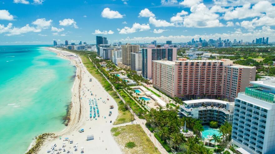 Aerial view of South Beach, Miami Beach, Florida.