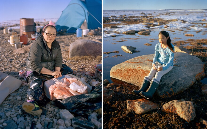 Darlene Willie scrapes the skin of a ringed seal at her family's hunting camp at Nuvukutaak on Baffin Island to prepare it for use as clothing. Darlene's mother, who was in poor health, had just taught these skills to her daughter. Right: Horizon Willie, 11, holds snow goose eggs she gathered near her family's camp. They harvested hundreds to bring to neighbors who could not make the trip.
