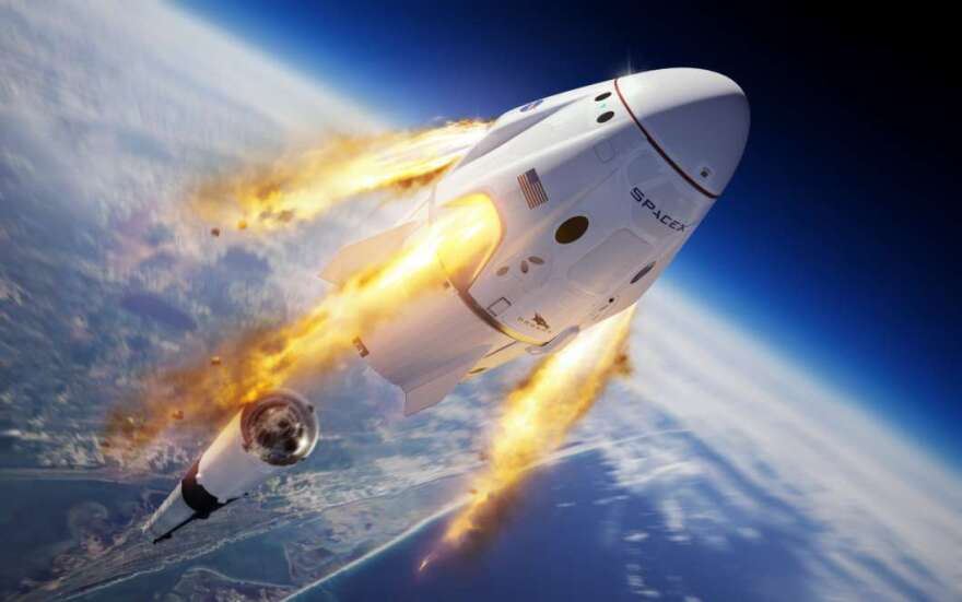 Rendering of Crew Dragon's abort system firing mid-flight.