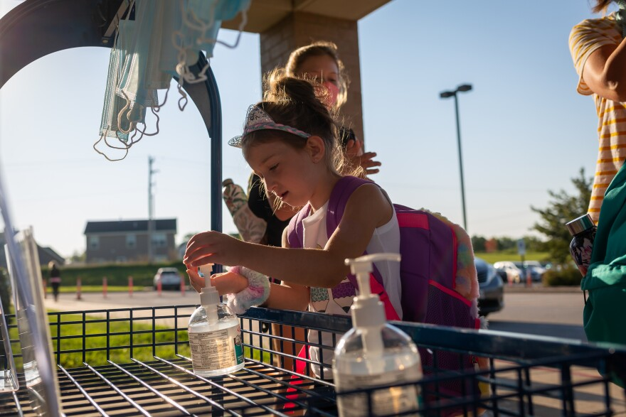 Students arrive for the first day of school Aug. 24 at Duello Elementary School in Lake St. Louis. Wentzville is one of the few St. Louis-area school districts to open in person. It'll offer in-school instruction two days per week.