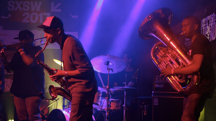 Nathaniel Cross on trombone, Binker Golding on tenor saxophone, Moses Boyd on drums  and Theon Cross on tuba perform at SXSW in March 2017.