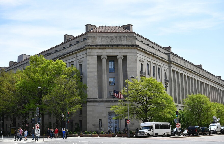 An April 16, 2019 photo shows the Department of Justice in Washington, DC.