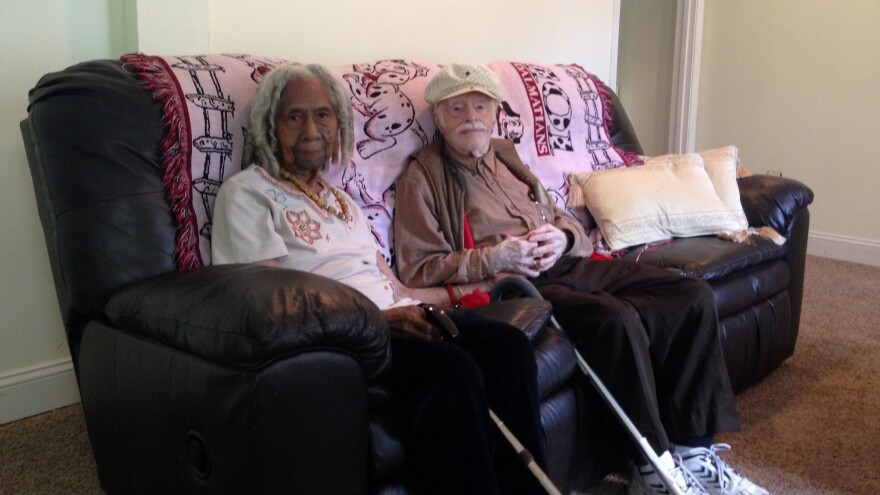 Edith Hill, 96, and Eddie Harrison, 95, shown here in their home in Annandale, Va., were married earlier this year. One of Hill's daughters says the marriage was improper and that Hill's estate is now in question.