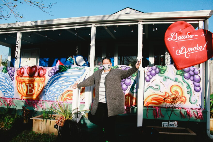 "Inez Pierre, of Crescent City Artists, stands in front of her family's home. It's one of 63 house floats created by the family's business. ""All we want to do is make people happy, make people smile."""
